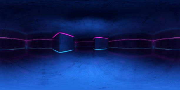 panorama de 360 grados. interior oscuro con luces de neón - 360 fotografías e imágenes de stock