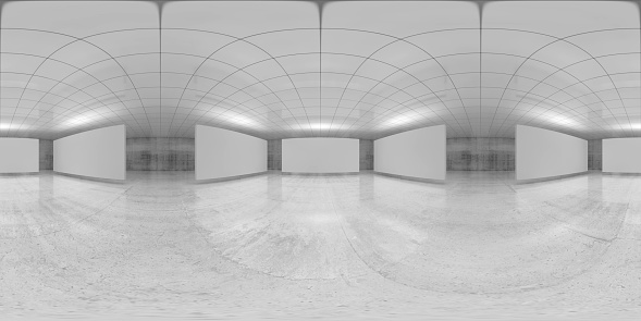360 degree spherical seamless vr panorama. Abstract empty white interior with stands installation, HDRI environment map of an exhibition gallery with walls made of concrete. 3d render illustration