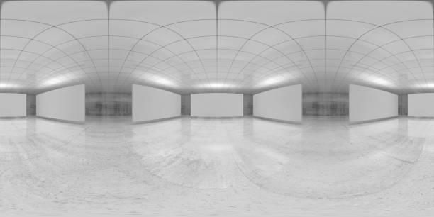 panorama de 360 grados, sala blanca vacía, 3 d - 360 fotografías e imágenes de stock