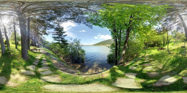 360 degree panoramic green view Bolu abant gölü çevresinde 360 derece yeşillik high dynamic range imaging stock pictures, royalty-free photos & images