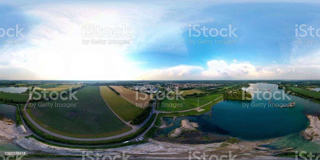 360-Grad-Bereich Landschaft Luftbild Drohne – Foto