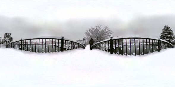 istock 360 degree view of bridge on the public park 1124368969