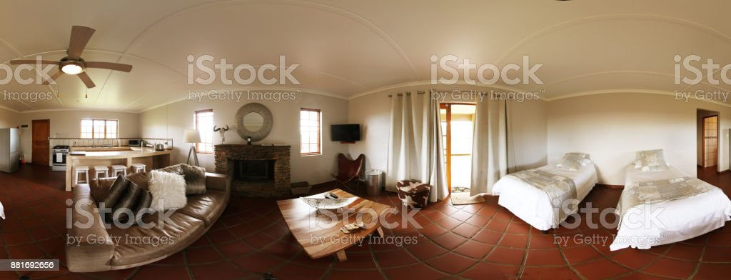 360 degree view of living room interior and kitchen stock photo