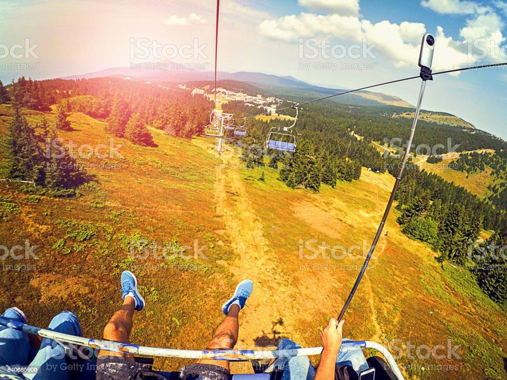 360 degree view on ski lift stock photo