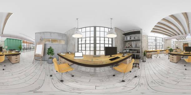 360 grados vr de gran interior de oficina moderno - 360 fotografías e imágenes de stock