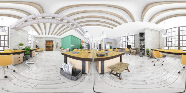 360 degree VR of large modern office interior Office interior 360 degree VR panoramic render. Open space with working stations next to the window with daylight. No people. 360 degree view stock pictures, royalty-free photos & images