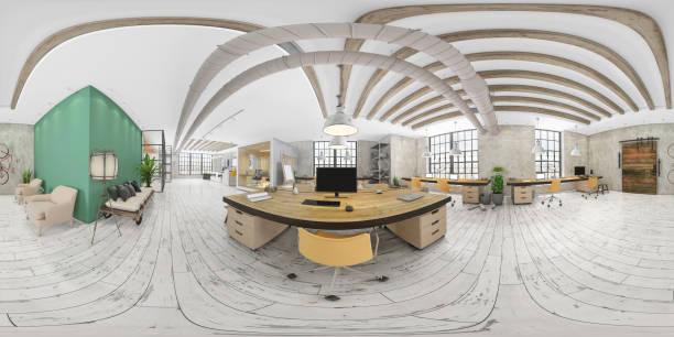 360 grados vr de gran interior de oficina moderna - 360 fotografías e imágenes de stock