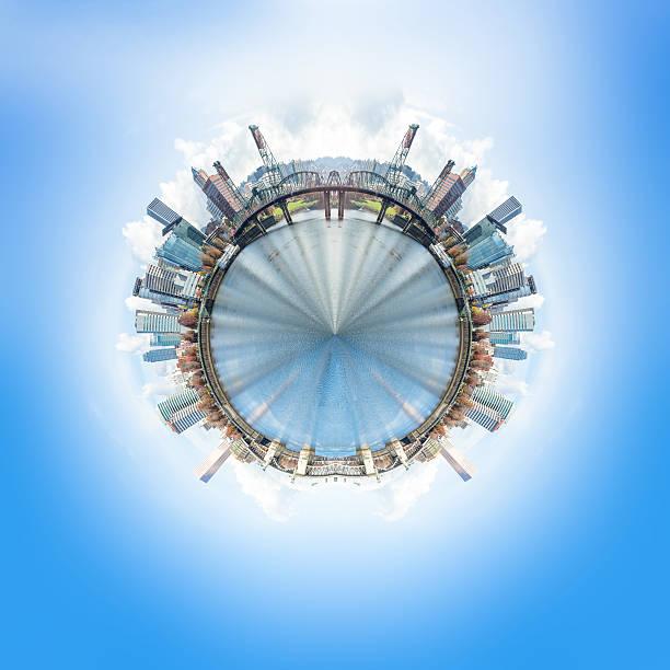 Vue à 360 degrés avec vue sur la ville et les gratte-ciel de Portland - Photo