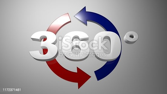 istock 360 degrees in white characters, in front of two rotating arrows - 3D rendering illustration 1172371451