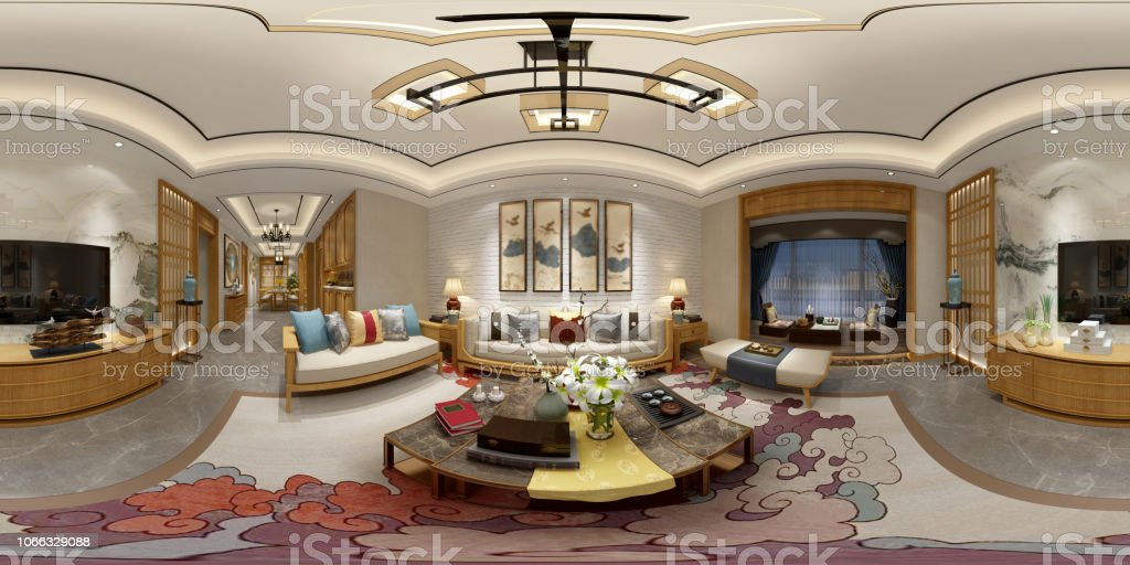 360 Degrees Living and Dining Room. 3D Render. stock photo