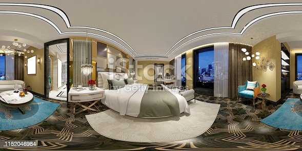 938518926istockphoto 360 degrees modern bedroom, hotel room. 3d rendering 1152046984