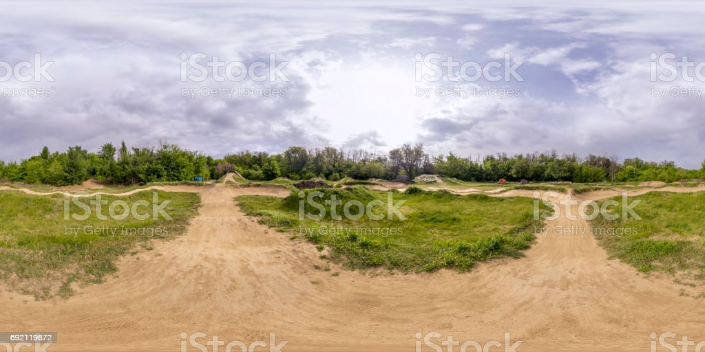 360 degrees panorama of a bicycle track in Plovdiv, Bulgaria stock photo
