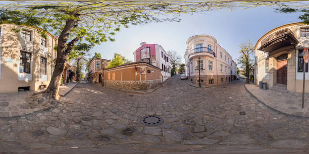 360 degrees panorama of Art Gallery La Boheme  in Plovdiv, Bulgaria stock photo