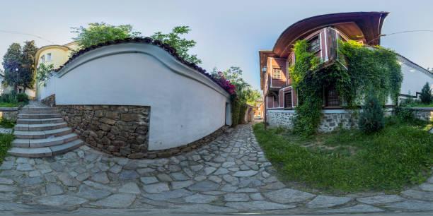 360 degrees panorama of Balabanov house in Plovdiv, Bulgaria stock photo