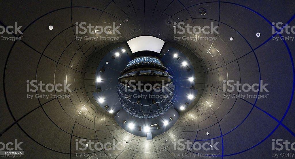 360 degrees panorama of cinema hall, mini planet style royalty-free stock photo