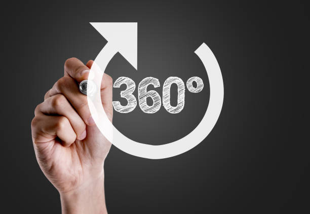 360 Degrees 360 Degrees on blackboard 360 degree view stock pictures, royalty-free photos & images
