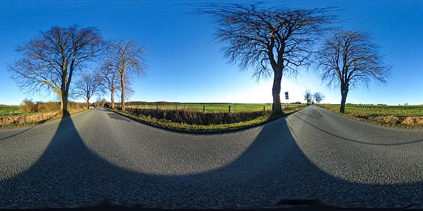 360 degrees spherical panorama of a asphalt country road - Photo