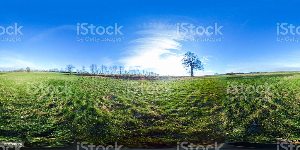 360 degrees spherical panorama of agriculture fields stock photo
