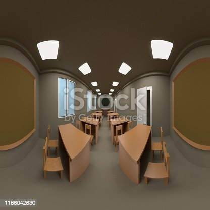 360 degrees spherical panorama of Wooden table and chair with green blank blackboard . education background with window shadow,3D rendering