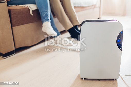 istock Dehumidifier with touch panel, humidity indicator, uv lamp, air ionizer, water container works in apartment. Close up 1076906100