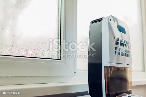 istock Dehumidifier with touch panel, humidity indicator, uv lamp, air ionizer, water container works by wet window. 1078226660