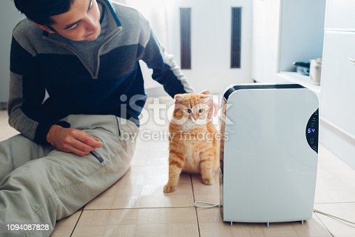 851700660 istock photo Dehumidifier with touch panel, humidity indicator, uv lamp, air ionizer, water container works at home. Air dryer 1094087828
