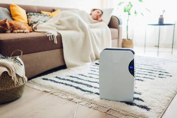 タッチパネル、湿気の表示器、紫外線ランプ、空気イオナイザー、水容器が付いている除湿機は家で働く。空気乾燥機 - 加湿器 ストックフォトと画像