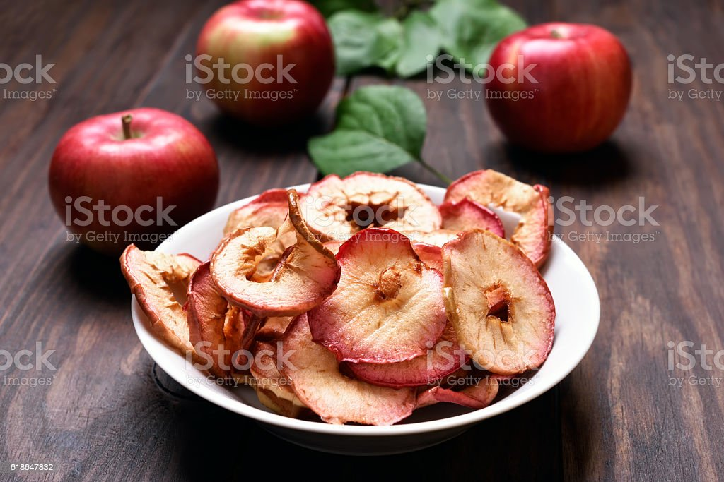 Dehydrated apple chips stock photo