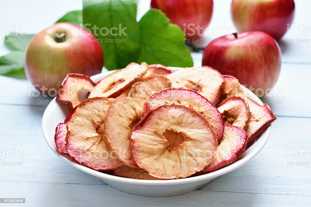 Dehydrated apples chips stock photo