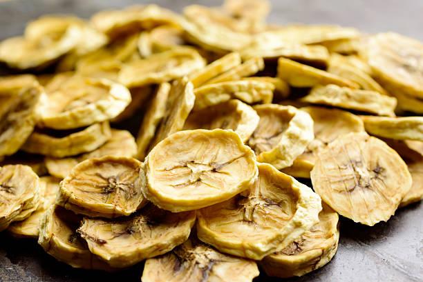 Dehydrated banana slices stock photo