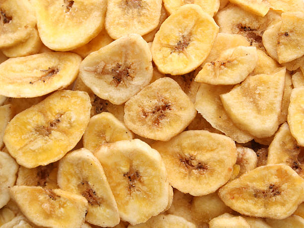 dehydrated banana snacks - dried food stock photos and pictures