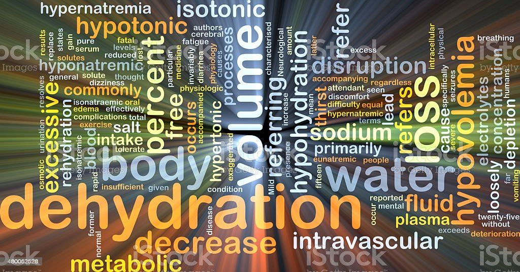 Dehydration background concept glowing stock photo
