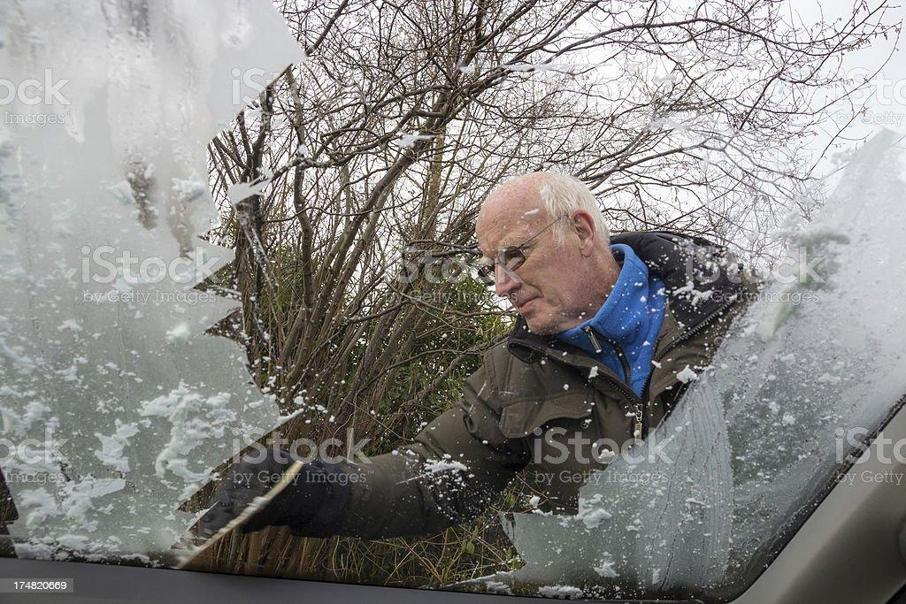 De-icing the car window. royalty-free stock photo