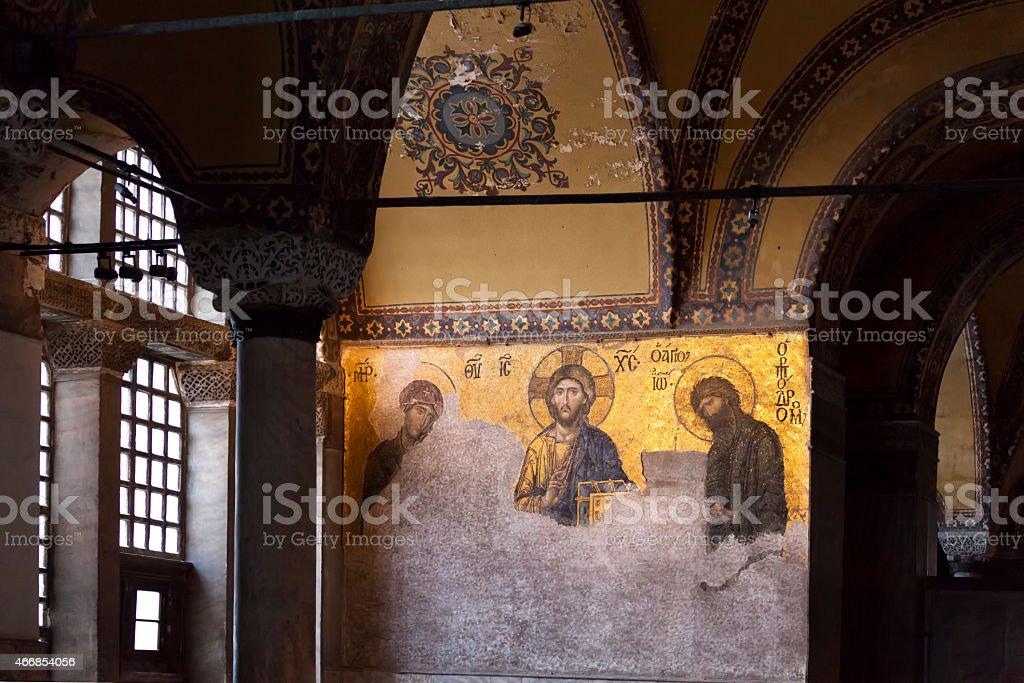 Deisis mosaic in Hagia Sophia stock photo