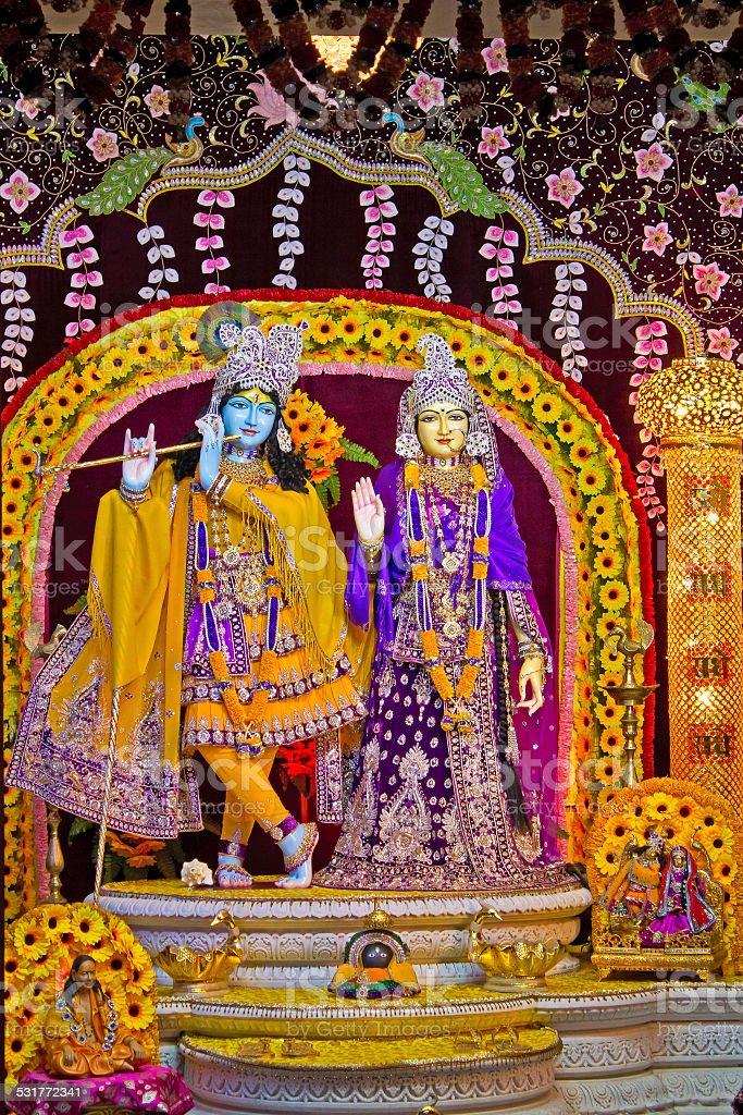 Deities of Radha and Krishna stock photo