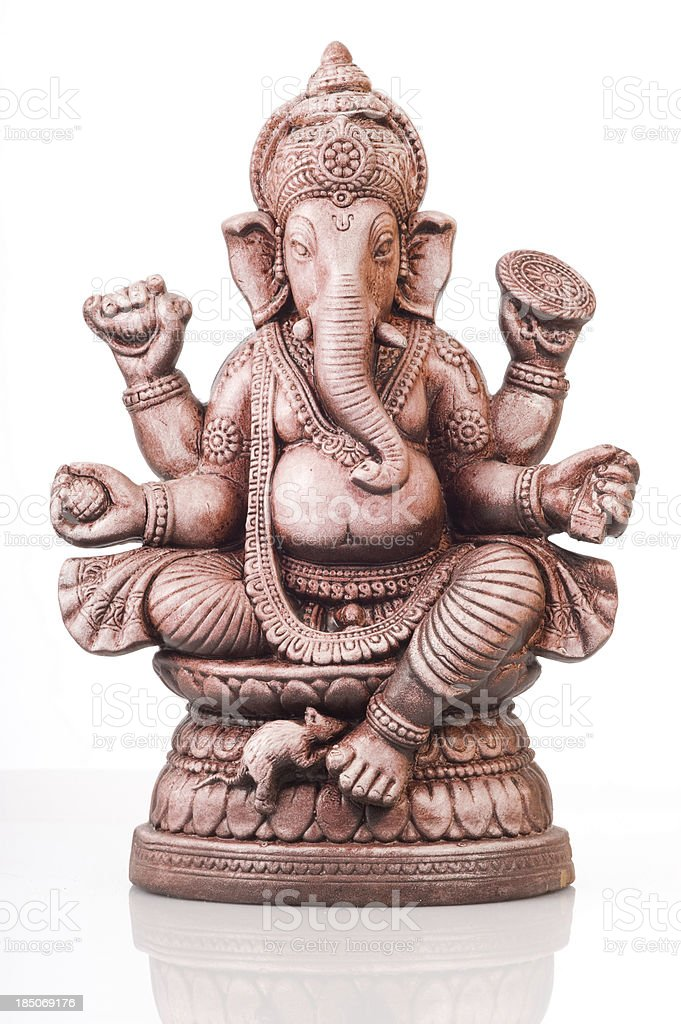 Deity of Ganesha from India on white background stock photo