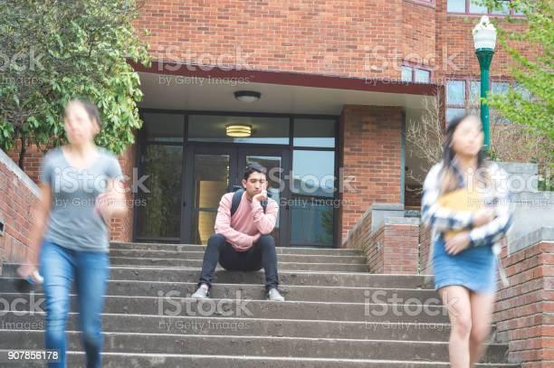 Dejected college student sits alone on stairs picture id907856178?b=1&k=6&m=907856178&s=612x612&h=gqtkxocwteydl1hwtpfkcfsvqyjdq1dk5zte1eo6akw=