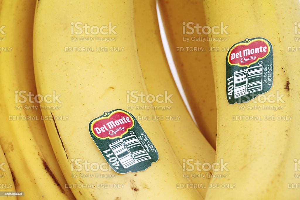 Del Monte labels on bananas from Costa Rica stock photo