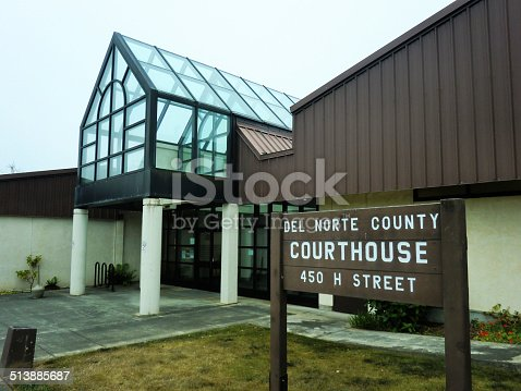 Entrance to the courthouse for Del Norte County in Crescent City, California.