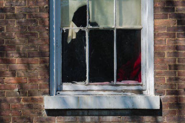 delapidated aged window - lead stock photos and pictures