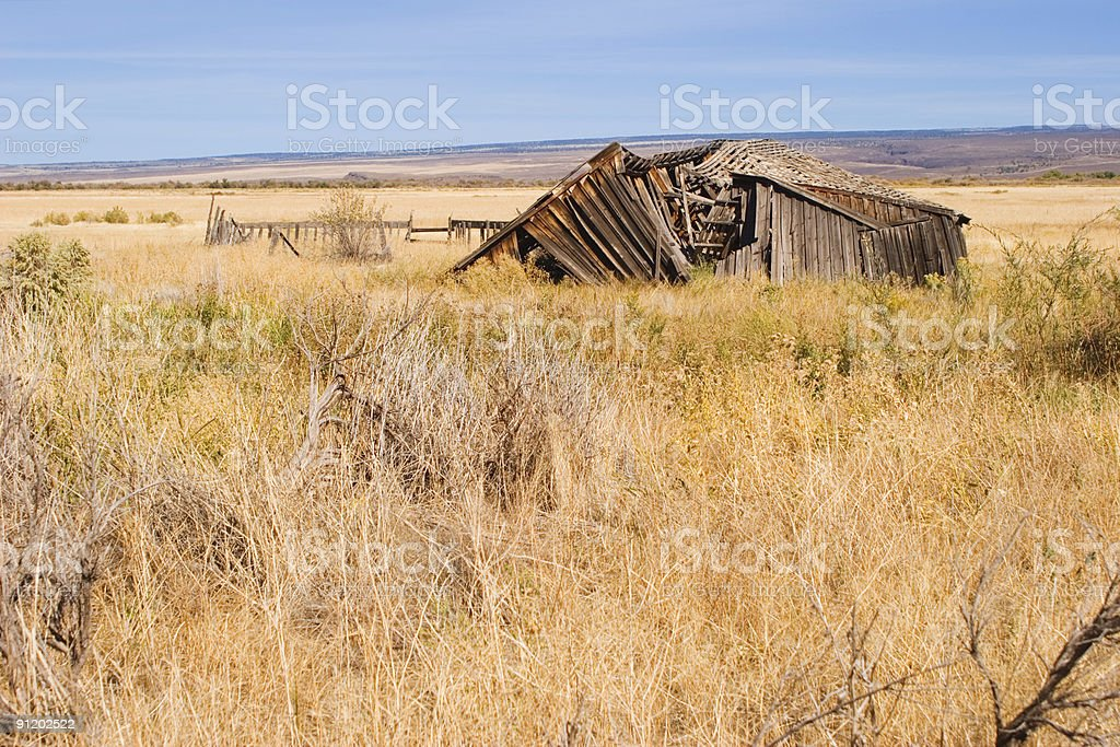 Delapidated barn, Steens Mountain, Oregon stock photo