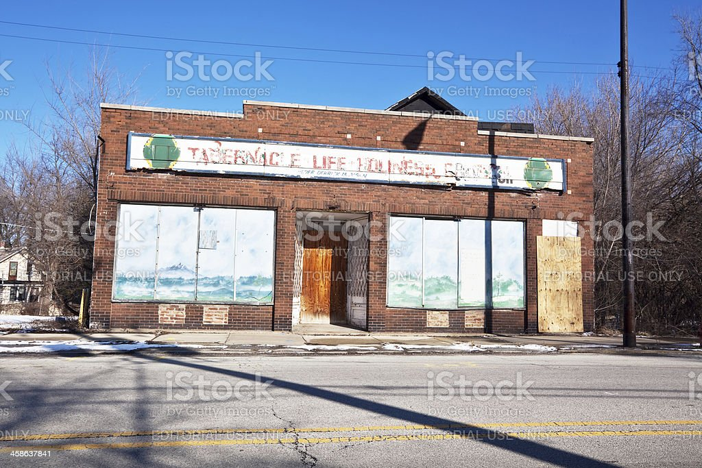Delapidated Neighborhood Church in Riverdale, Chicago stock photo