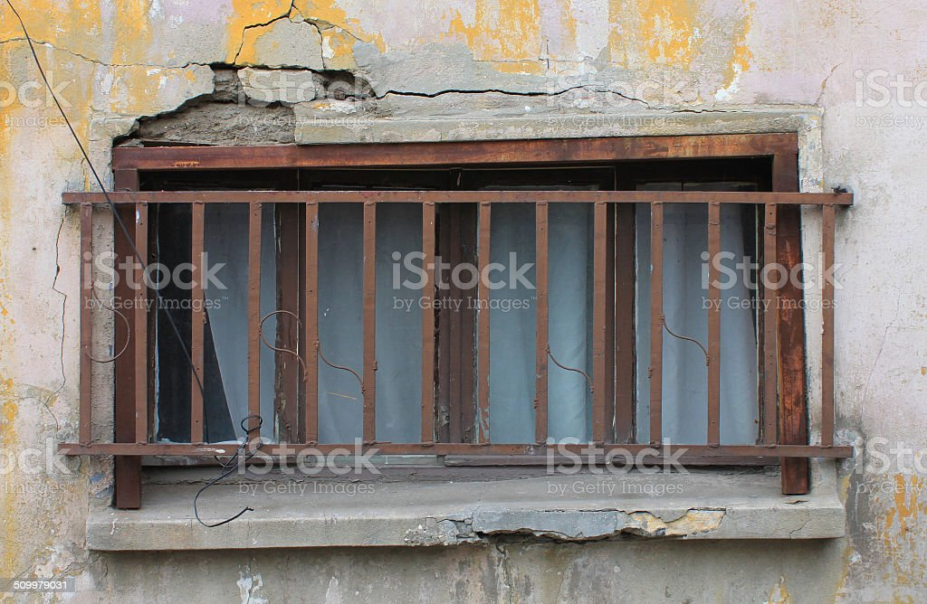 Delapidated Window in Istanbul stock photo