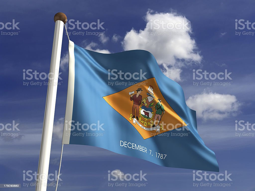 Delaware flag (with clipping path) stock photo