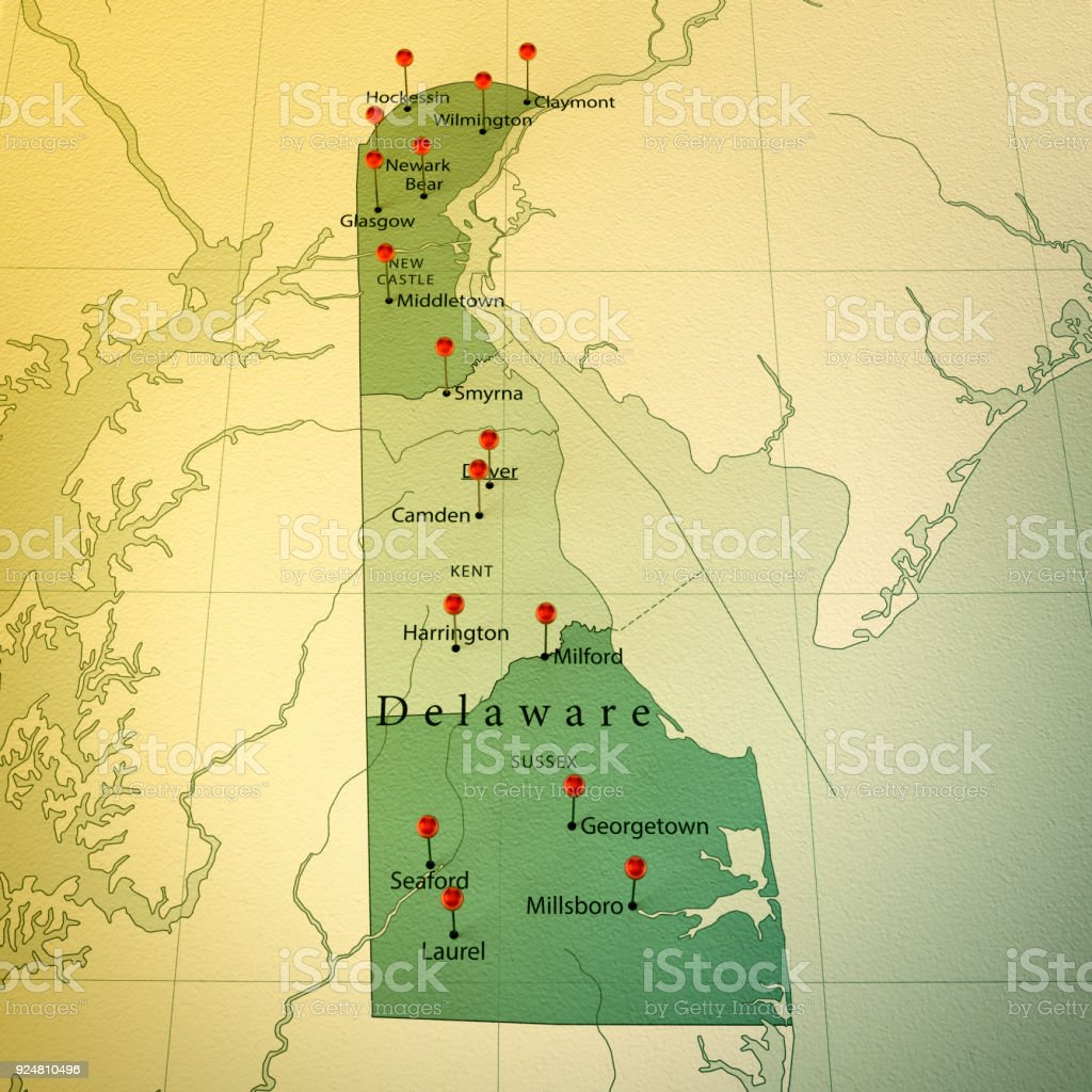 Delaware Map Square Cities Straight Pin Vintage Stock Photo More - Delaware-on-a-us-map