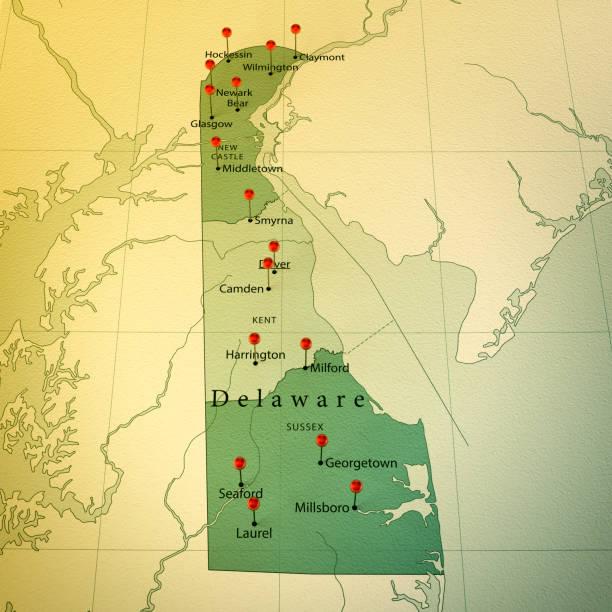 delaware karte platz städte zylinderstift vintage - karten de stock-fotos und bilder
