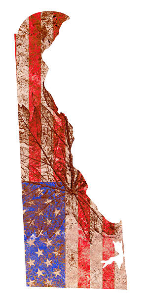 delaware state karte flagge muster - karten de stock-fotos und bilder