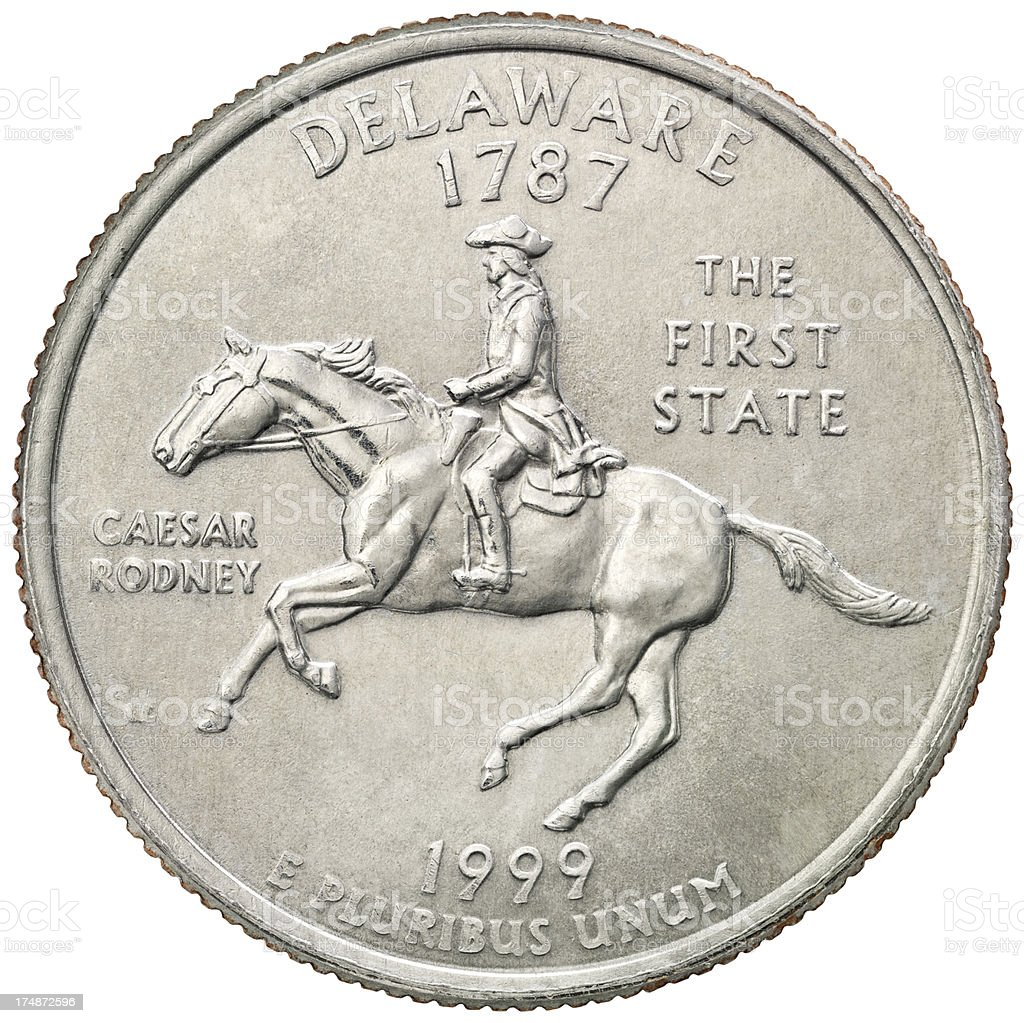 Delaware State Quarter Coin royalty-free stock photo