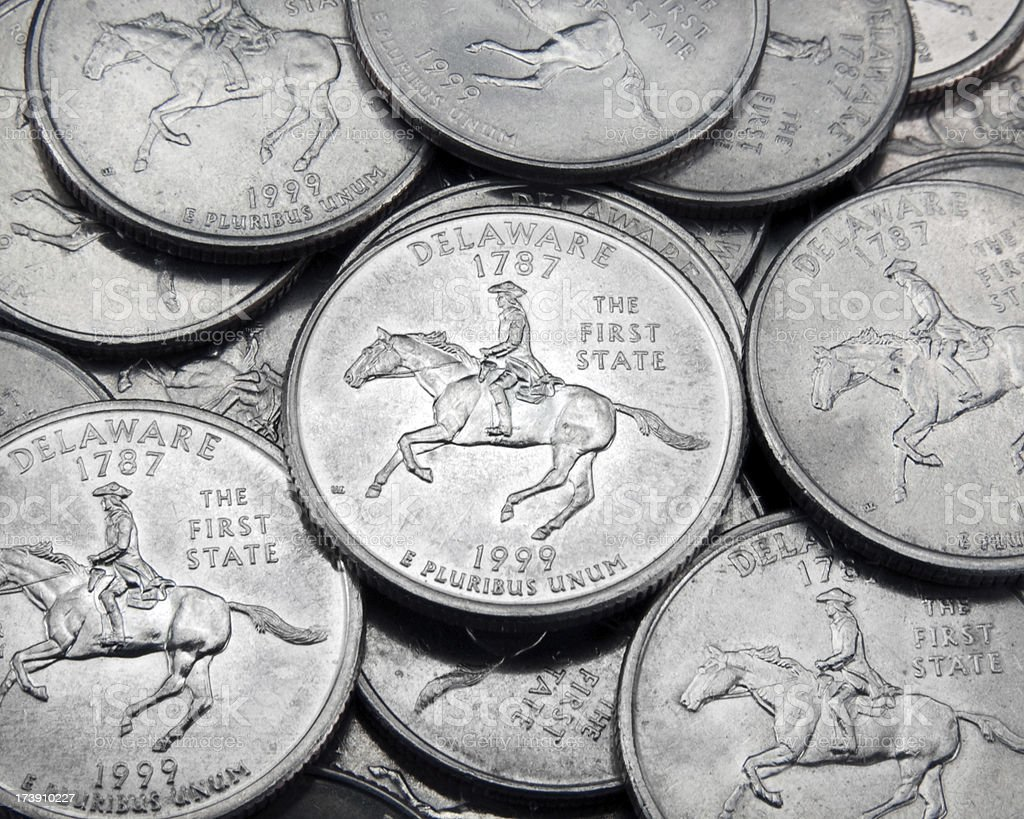 Delaware State Quarter stock photo