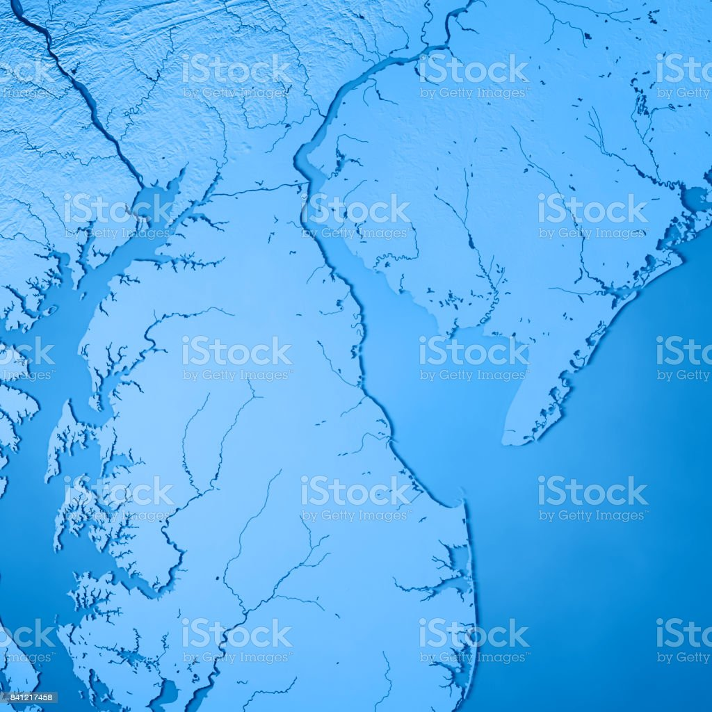 Chesapeake Bay On Map Of Usa.Delaware State Usa 3d Render Topographic Map Blue Stock Photo More